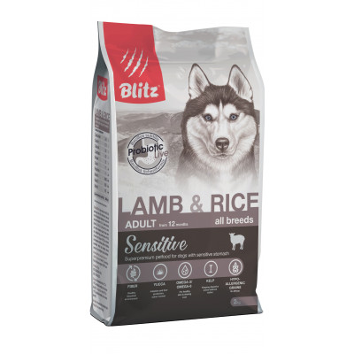 Blitz корм для взрослых собак всех пород, ягненок и рис