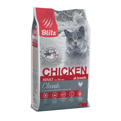 Blitz корм для взрослых кошек всех пород, курица